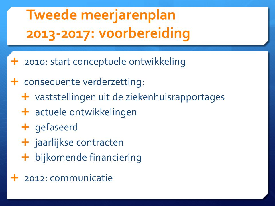 Tweede meerjarenplan 2013-2017: voorbereiding