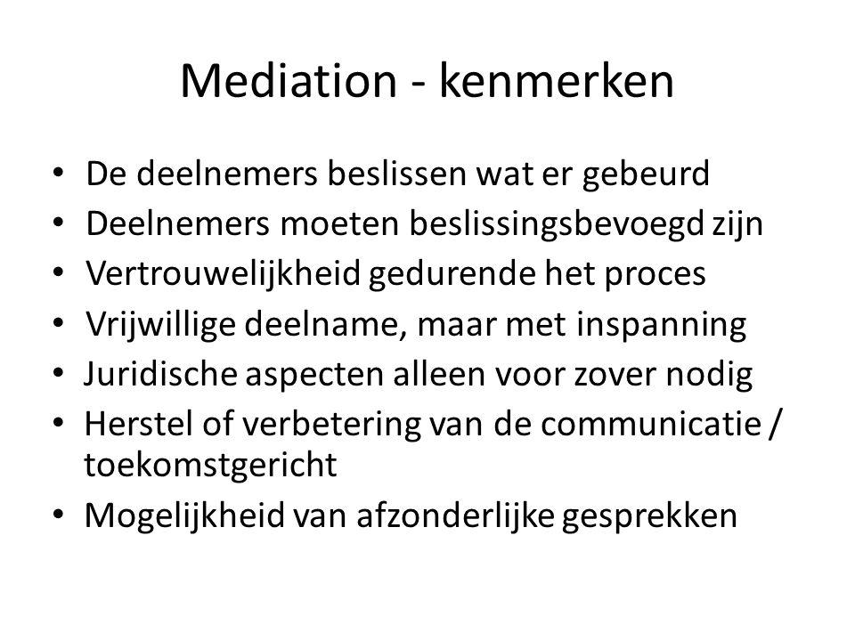 Mediation - kenmerken De deelnemers beslissen wat er gebeurd