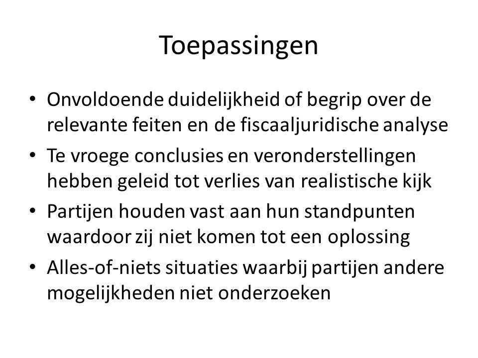Toepassingen Onvoldoende duidelijkheid of begrip over de relevante feiten en de fiscaaljuridische analyse.