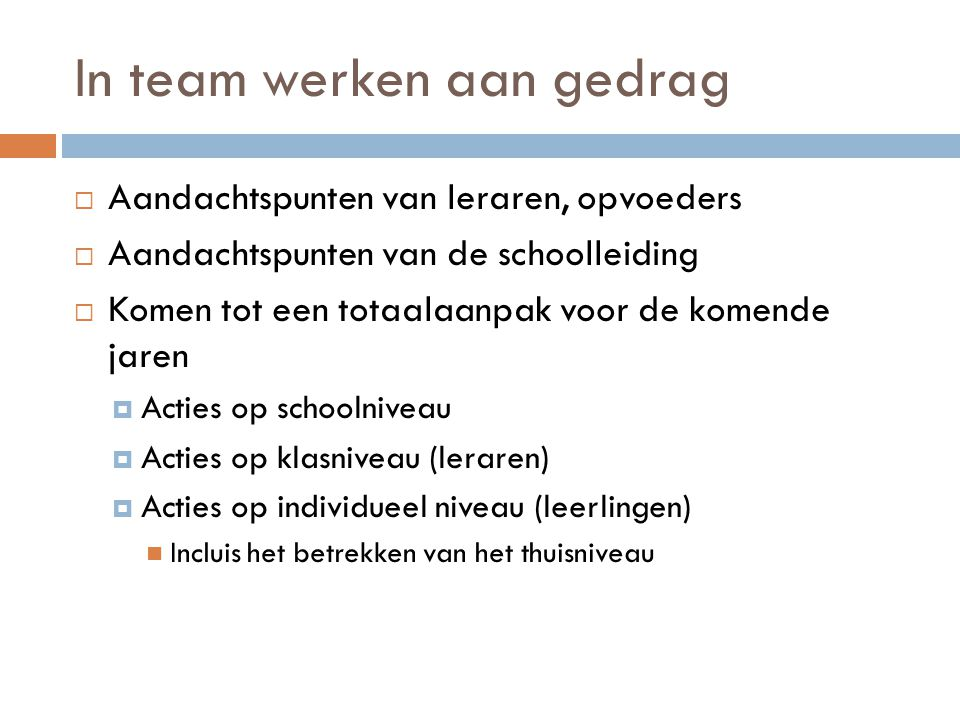 In team werken aan gedrag