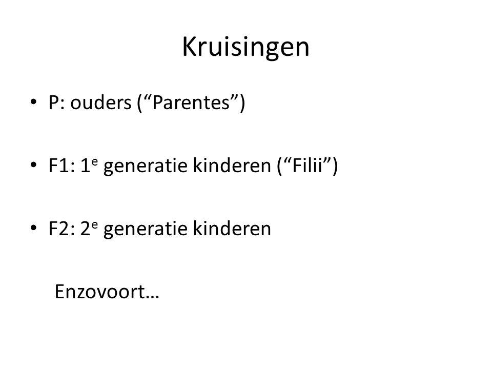 Kruisingen P: ouders ( Parentes ) F1: 1e generatie kinderen ( Filii )
