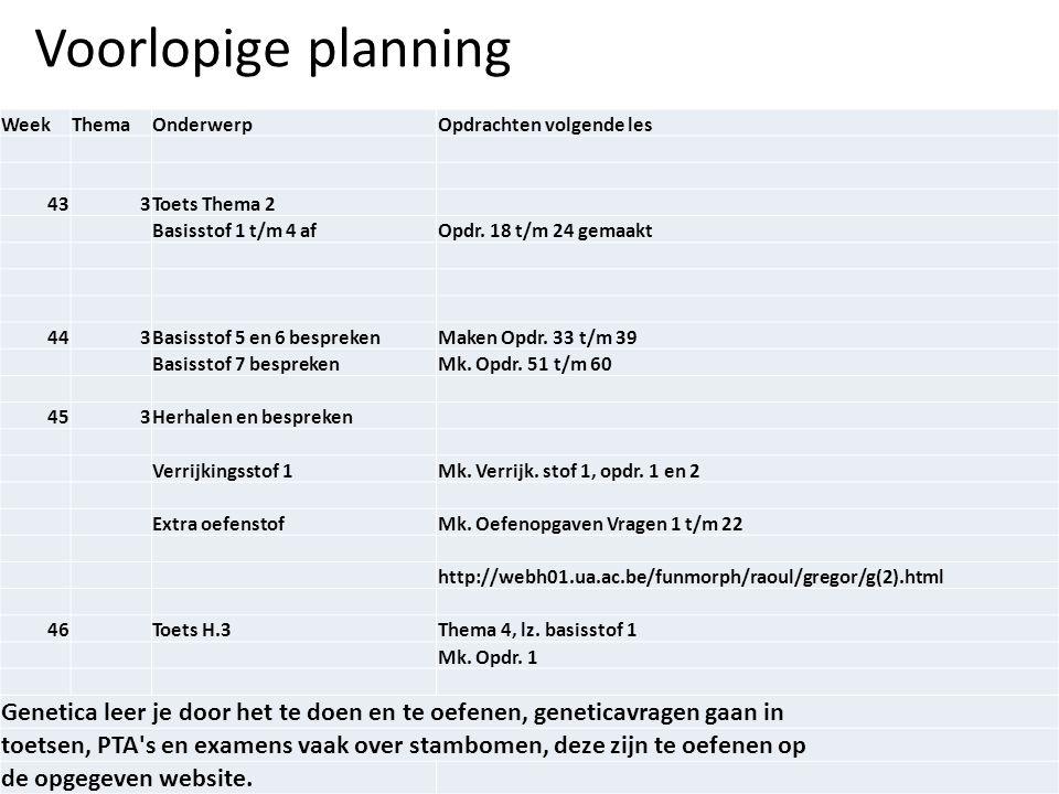 Voorlopige planning Week. Thema. Onderwerp. Opdrachten volgende les. 43. 3. Toets Thema 2. Basisstof 1 t/m 4 af.