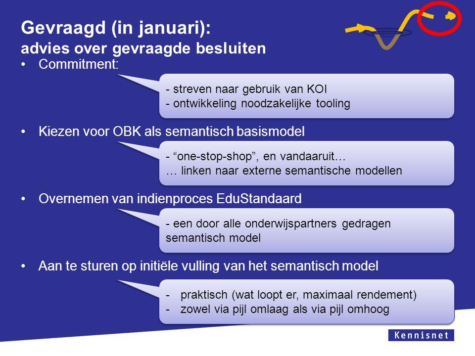 Gevraagd (in januari): advies over gevraagde besluiten