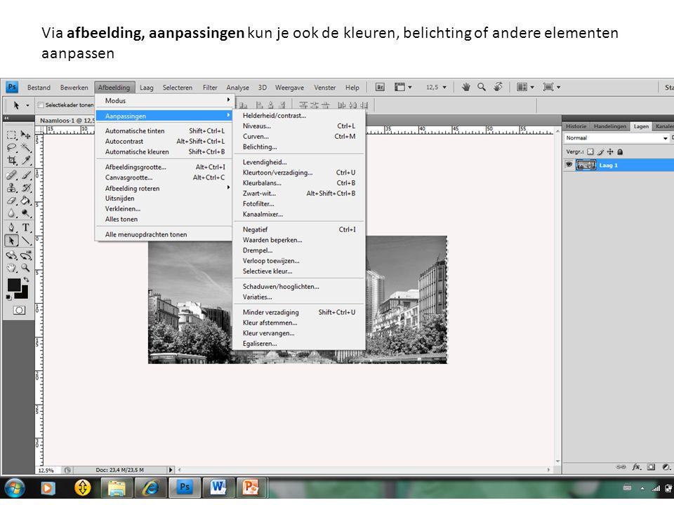 Via afbeelding, aanpassingen kun je ook de kleuren, belichting of andere elementen aanpassen
