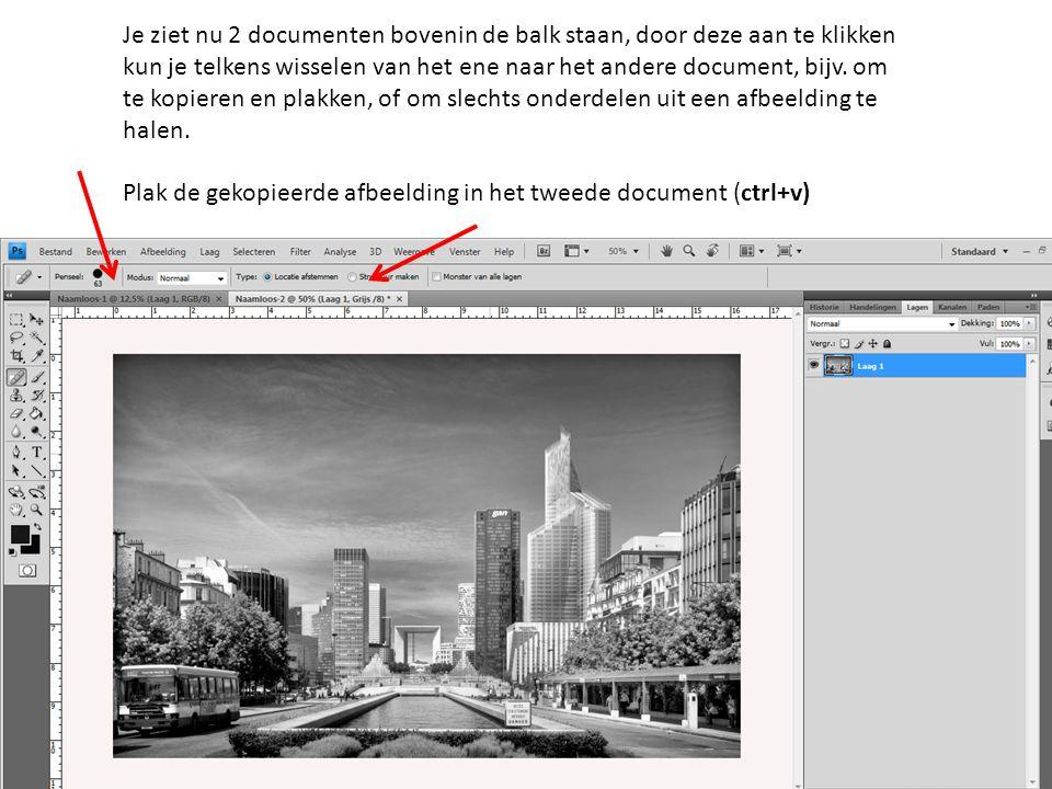 Je ziet nu 2 documenten bovenin de balk staan, door deze aan te klikken kun je telkens wisselen van het ene naar het andere document, bijv. om te kopieren en plakken, of om slechts onderdelen uit een afbeelding te halen.