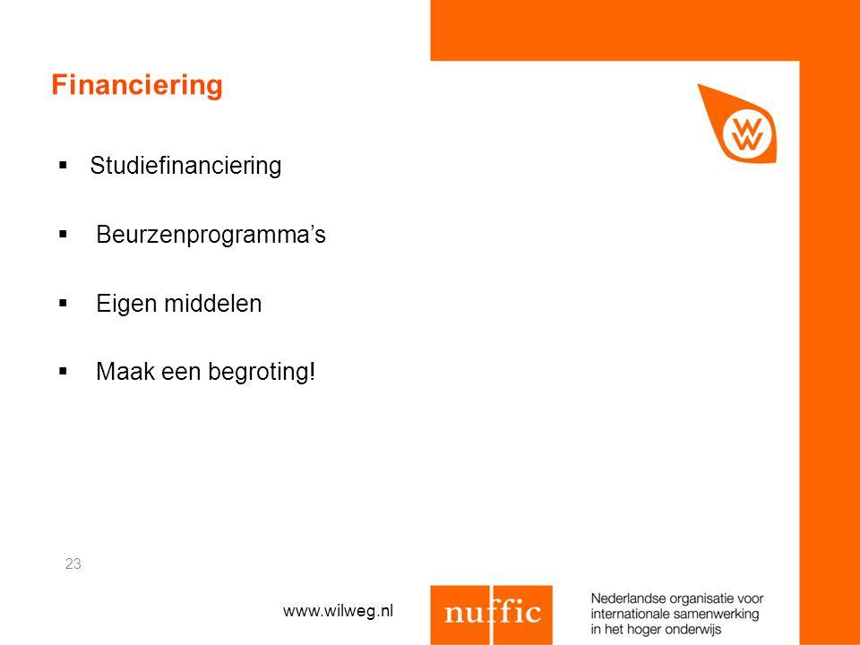 Financiering Studiefinanciering Beurzenprogramma's Eigen middelen