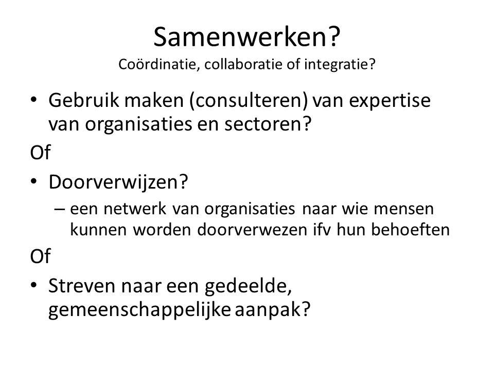 Samenwerken Coördinatie, collaboratie of integratie