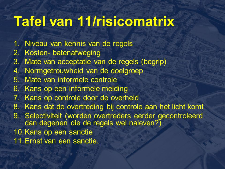 Tafel van 11/risicomatrix