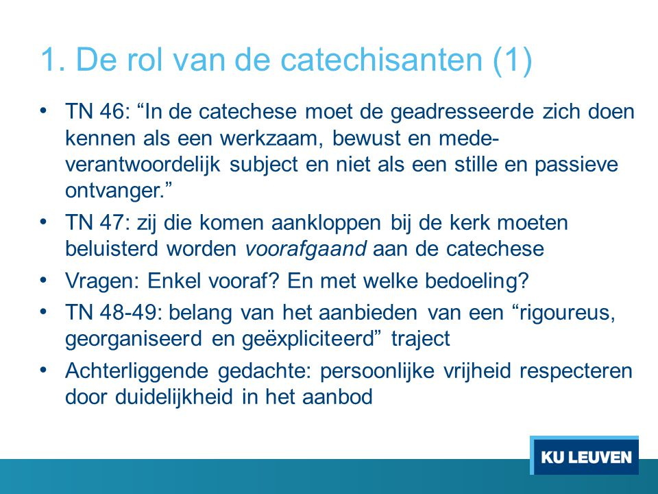 1. De rol van de catechisanten (1)