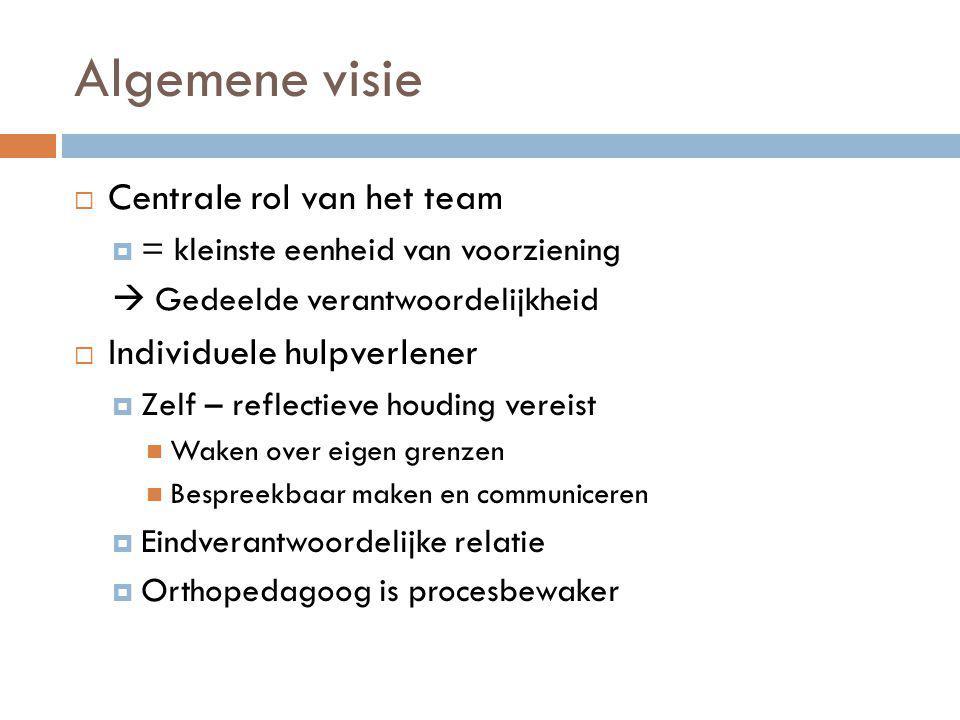 Algemene visie Centrale rol van het team Individuele hulpverlener