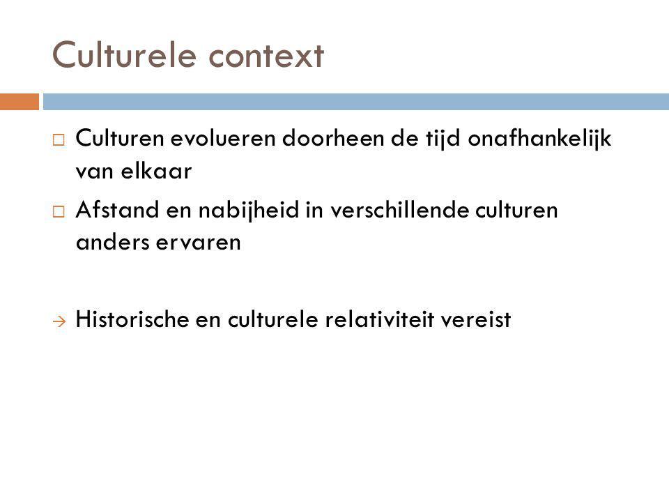 Culturele context Culturen evolueren doorheen de tijd onafhankelijk van elkaar. Afstand en nabijheid in verschillende culturen anders ervaren.