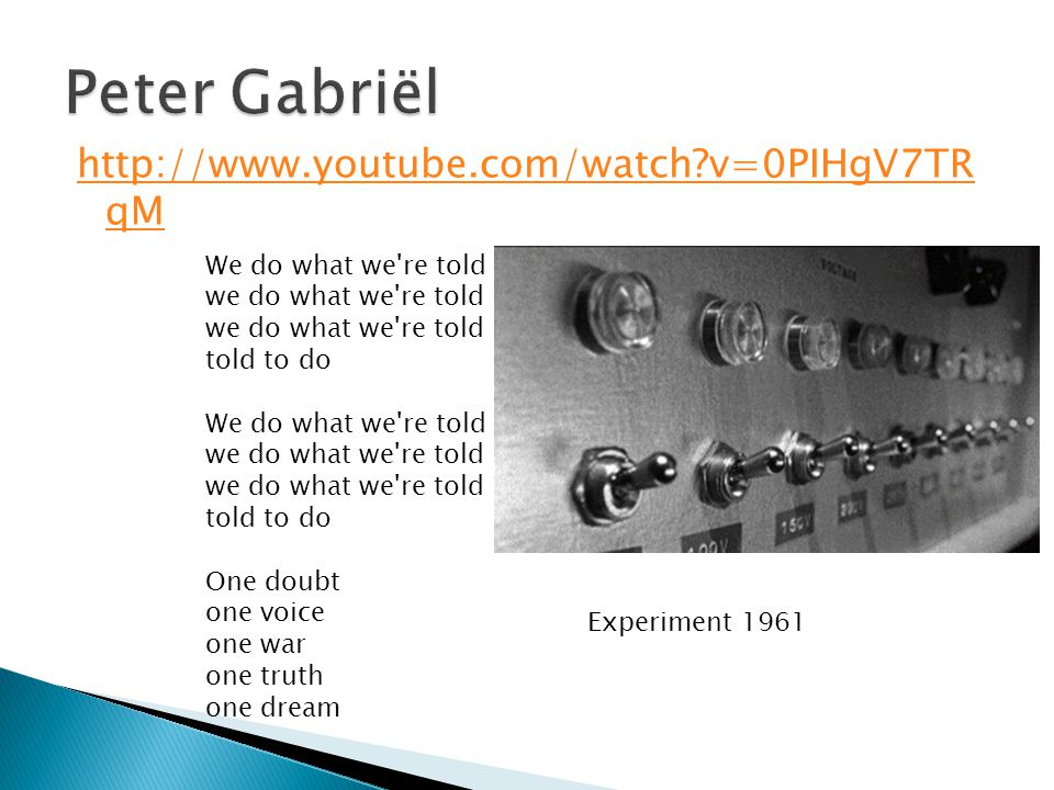 Peter Gabriël http://www.youtube.com/watch v=0PIHgV7TR qM