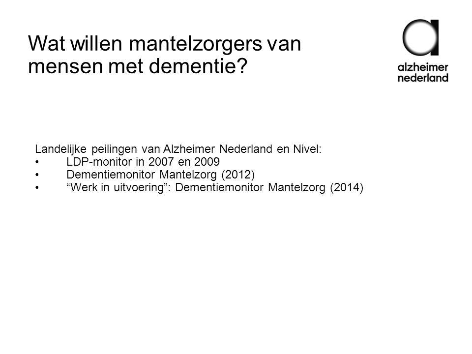 Wat willen mantelzorgers van mensen met dementie