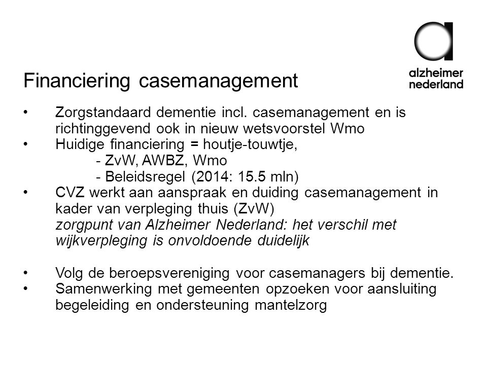 Financiering casemanagement