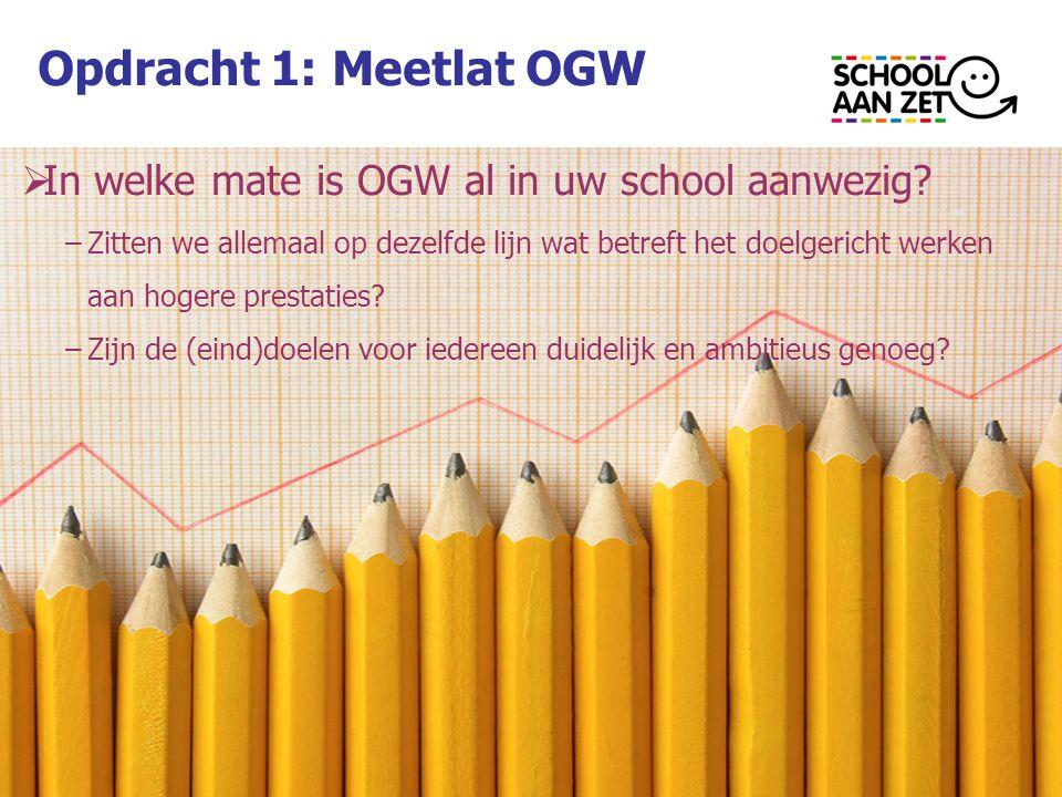 Opdracht 1: Meetlat OGW In welke mate is OGW al in uw school aanwezig