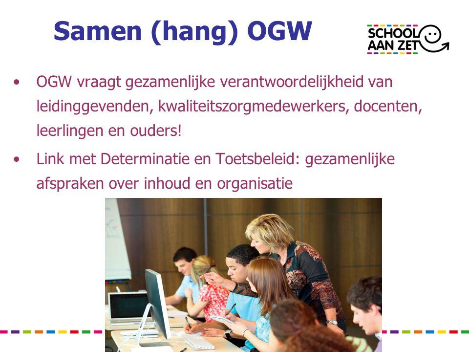 Samen (hang) OGW OGW vraagt gezamenlijke verantwoordelijkheid van leidinggevenden, kwaliteitszorgmedewerkers, docenten, leerlingen en ouders!