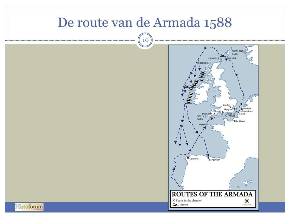De route van de Armada 1588