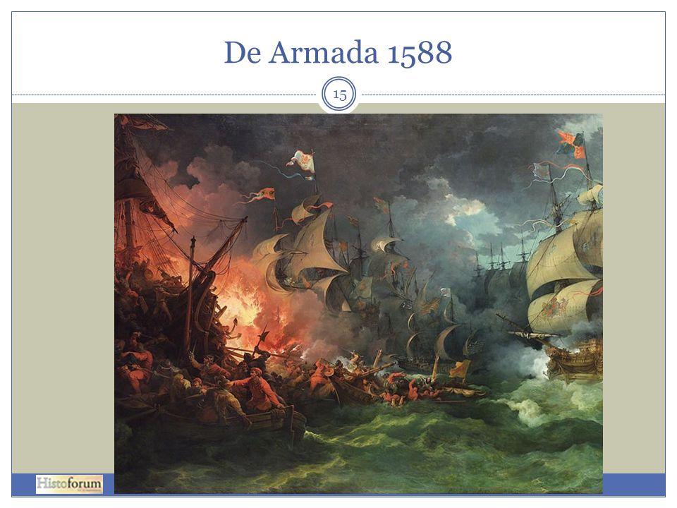 De Armada 1588 Nederlaag van de Spaanse Armada schilderij van Philippe-Jacques de Loutherbourg (1796).