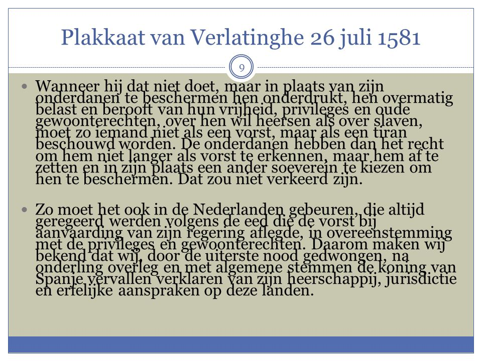 Plakkaat van Verlatinghe 26 juli 1581
