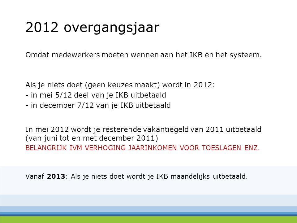 2012 overgangsjaar Omdat medewerkers moeten wennen aan het IKB en het systeem. Als je niets doet (geen keuzes maakt) wordt in 2012: