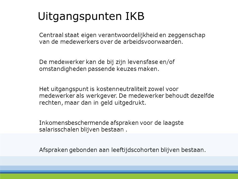 Uitgangspunten IKB Centraal staat eigen verantwoordelijkheid en zeggenschap. van de medewerkers over de arbeidsvoorwaarden.
