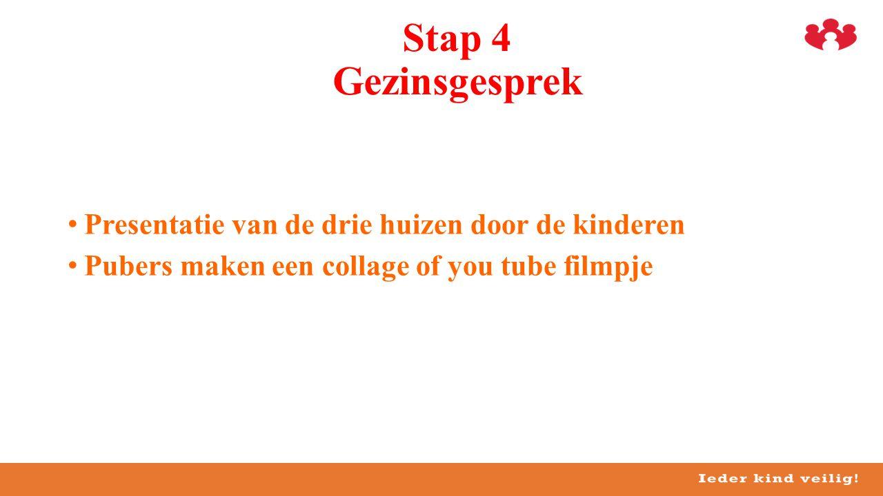 Stap 4 Gezinsgesprek Presentatie van de drie huizen door de kinderen