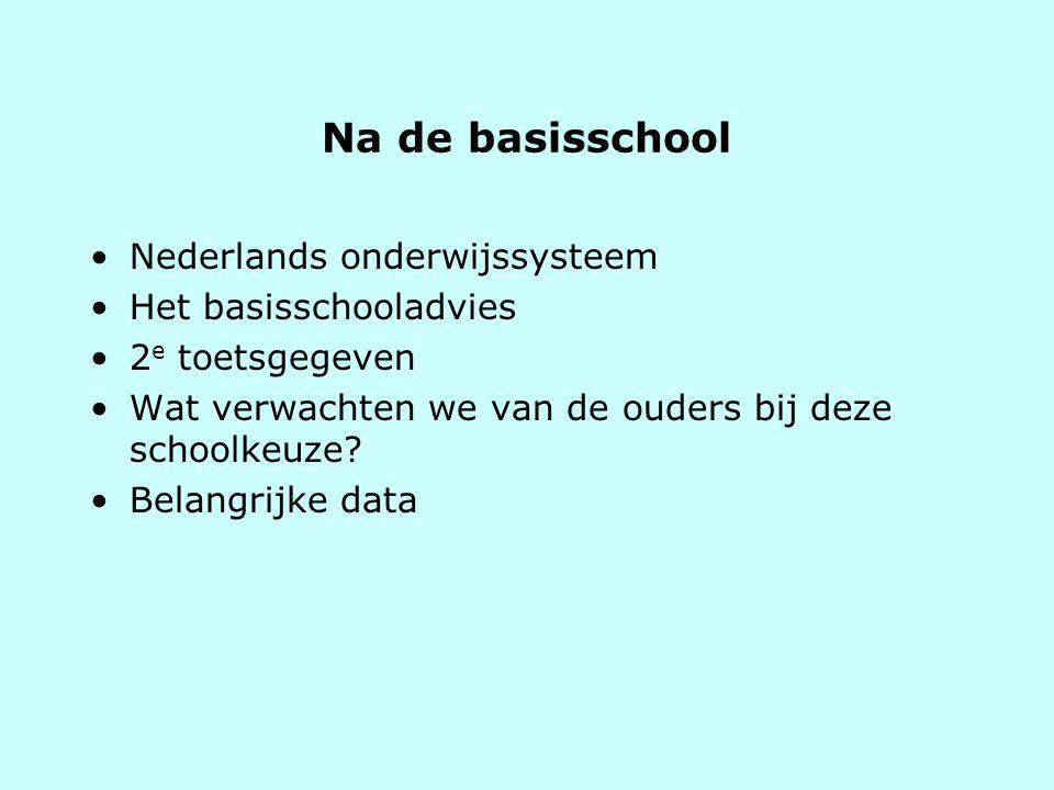 Na de basisschool Nederlands onderwijssysteem Het basisschooladvies