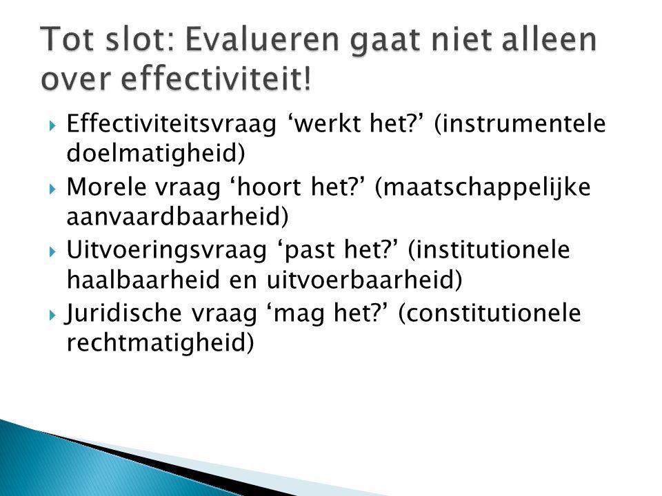Tot slot: Evalueren gaat niet alleen over effectiviteit!