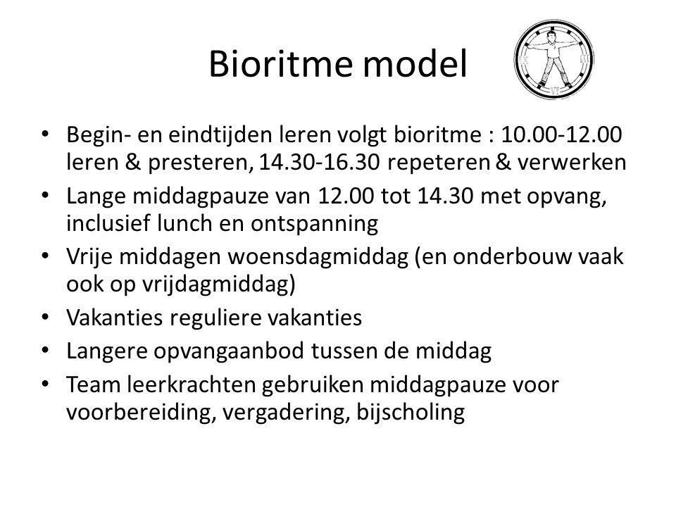Bioritme model Begin- en eindtijden leren volgt bioritme : 10.00-12.00 leren & presteren, 14.30-16.30 repeteren & verwerken.