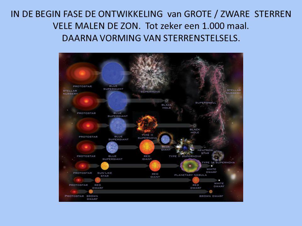 IN DE BEGIN FASE DE ONTWIKKELING van GROTE / ZWARE STERREN VELE MALEN DE ZON.