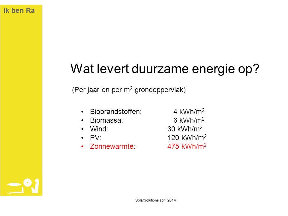 Wat levert duurzame energie op