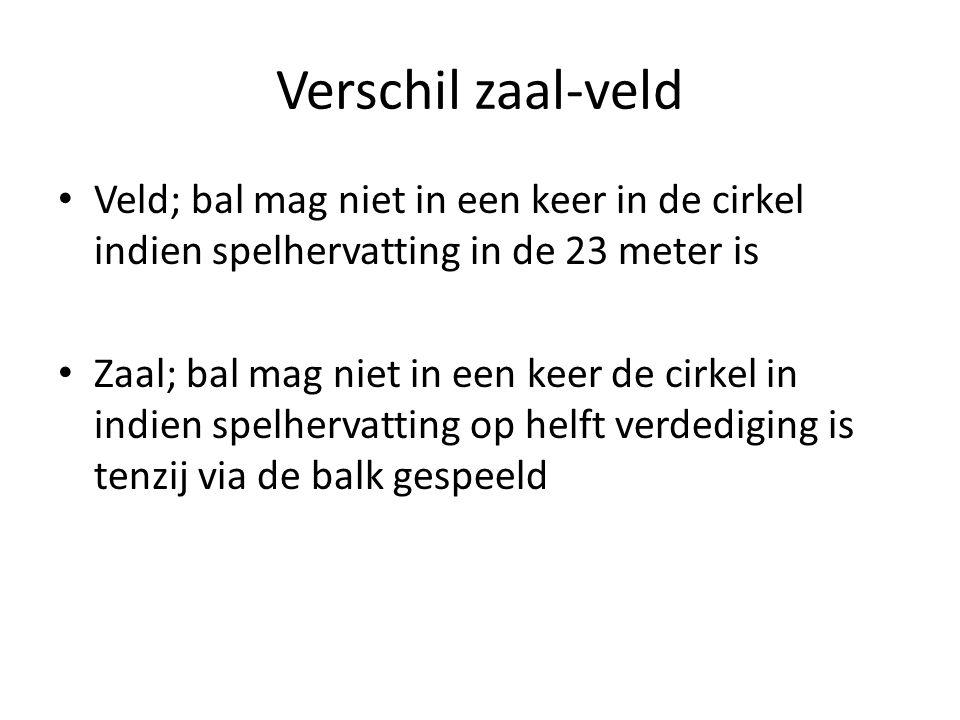 Verschil zaal-veld Veld; bal mag niet in een keer in de cirkel indien spelhervatting in de 23 meter is.