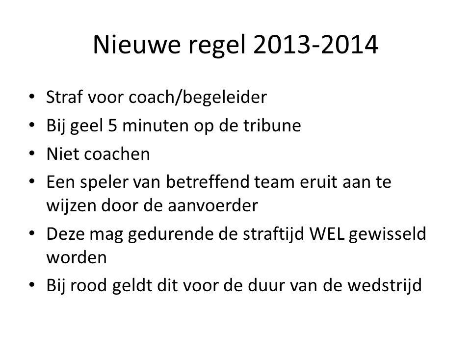 Nieuwe regel 2013-2014 Straf voor coach/begeleider