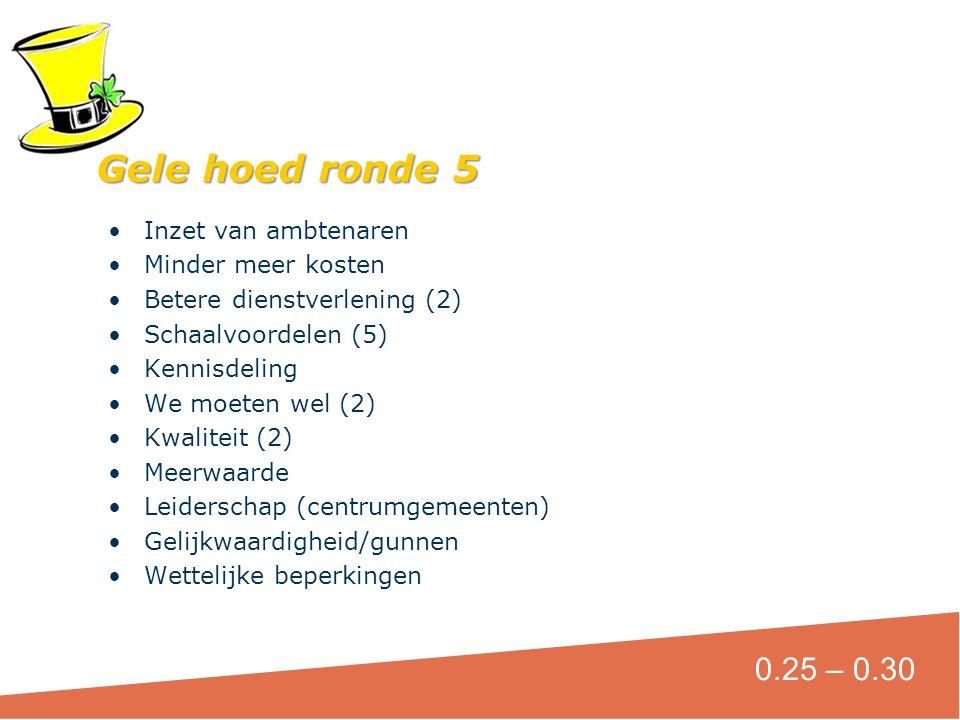 Gele hoed ronde 5 0.25 – 0.30 Inzet van ambtenaren Minder meer kosten