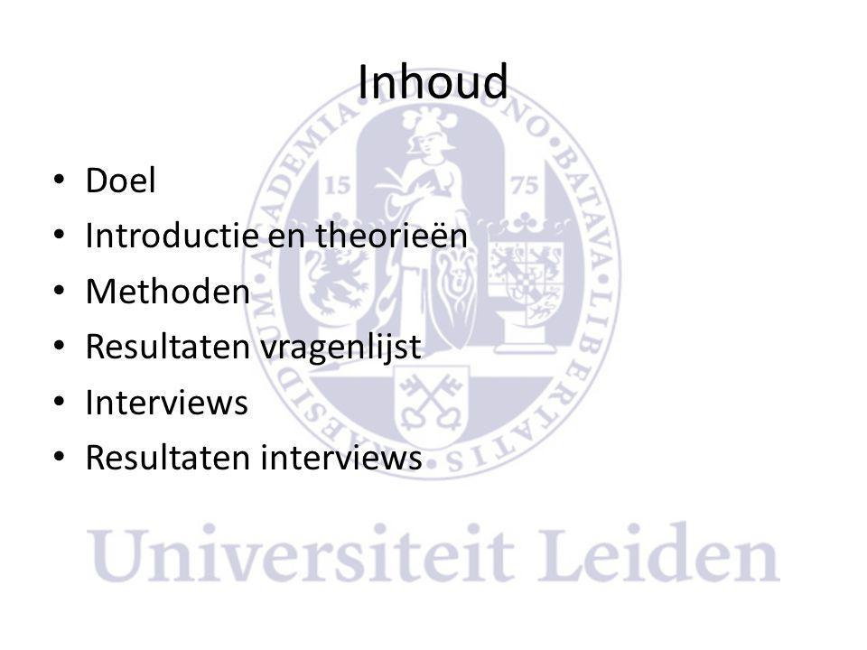 Inhoud Doel Introductie en theorieën Methoden Resultaten vragenlijst
