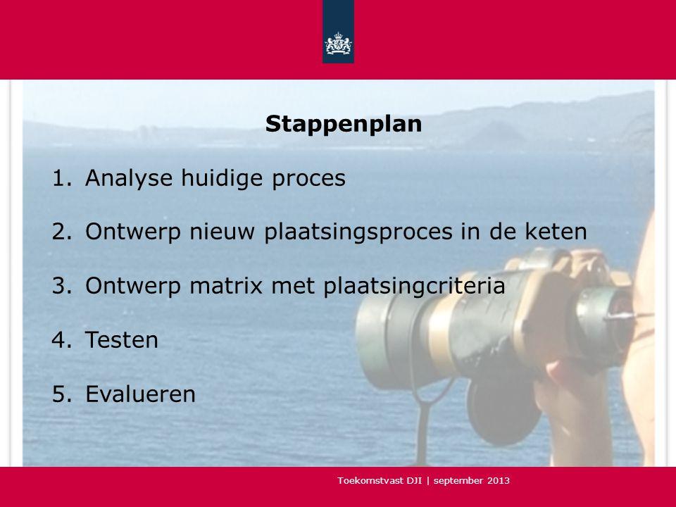 Stappenplan Analyse huidige proces. Ontwerp nieuw plaatsingsproces in de keten. Ontwerp matrix met plaatsingcriteria.