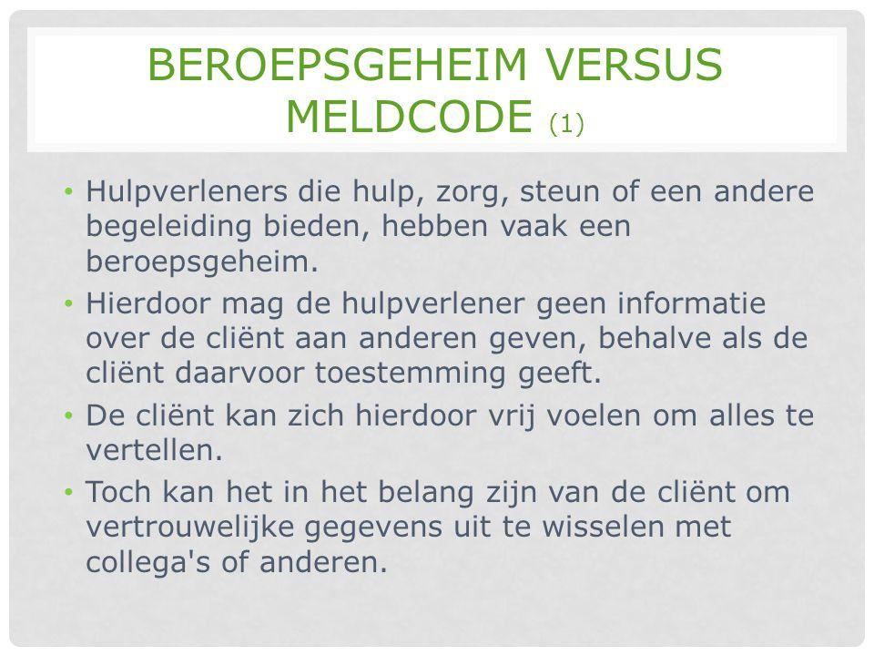 Beroepsgeheim versus meldcode (1)