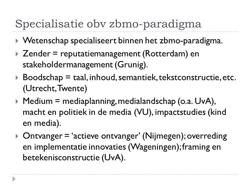 Specialisatie obv zbmo-paradigma