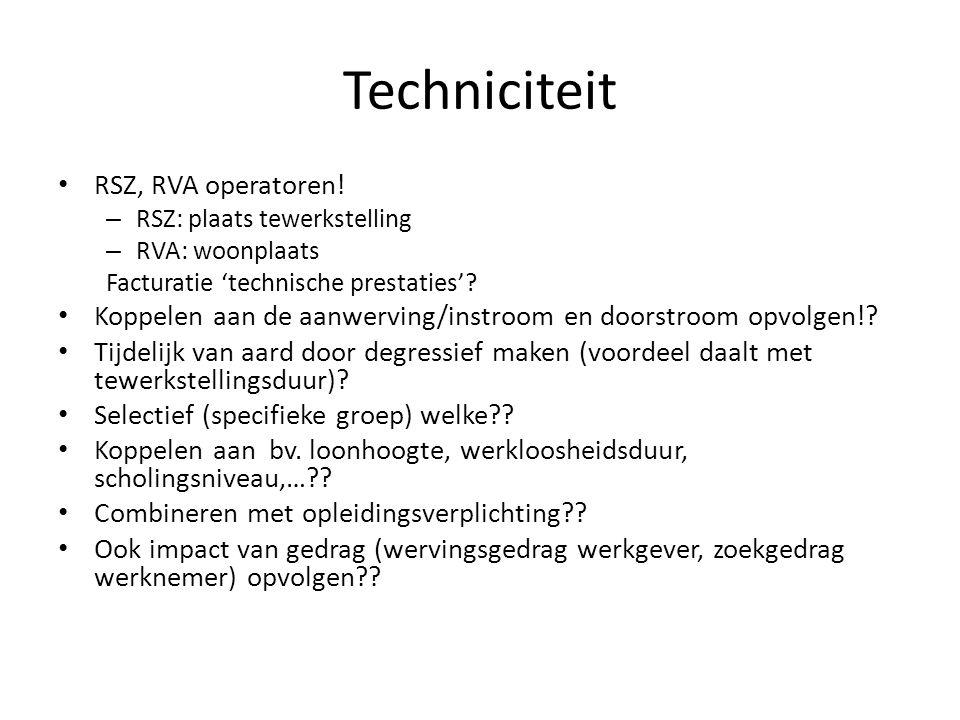 Techniciteit RSZ, RVA operatoren!
