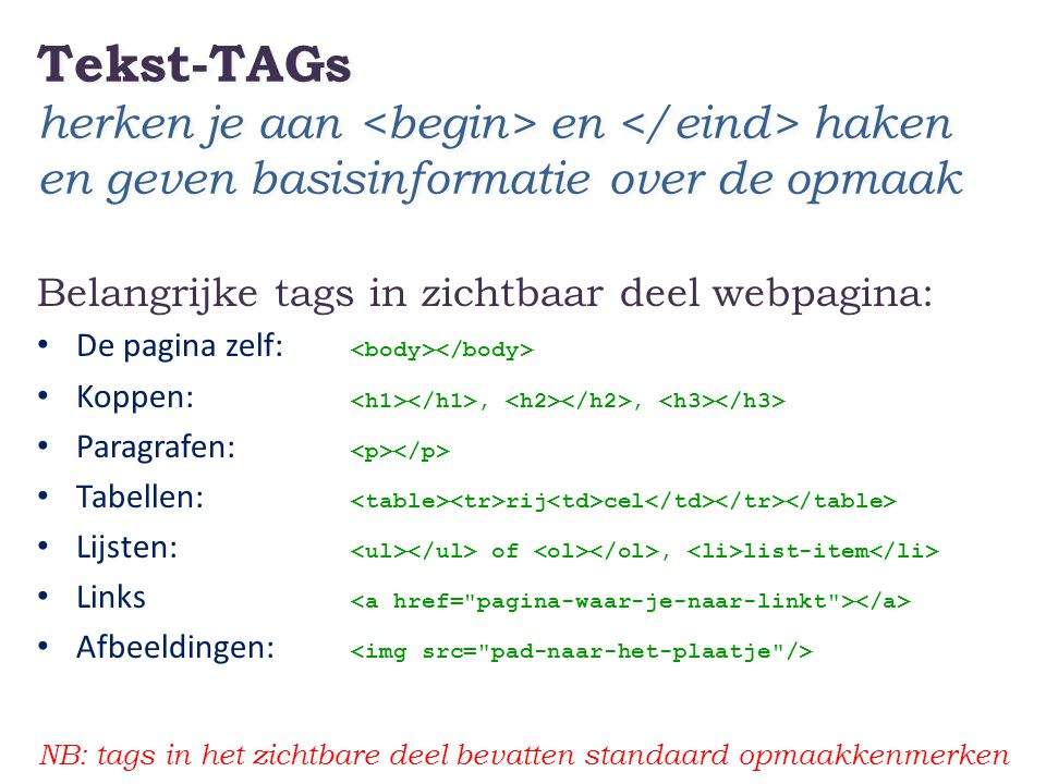 Tekst-TAGs herken je aan <begin> en </eind> haken en geven basisinformatie over de opmaak Belangrijke tags in zichtbaar deel webpagina: