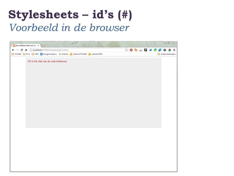 Stylesheets – id's (#) Voorbeeld in de browser