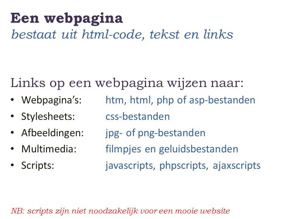 Een webpagina bestaat uit html-code, tekst en links