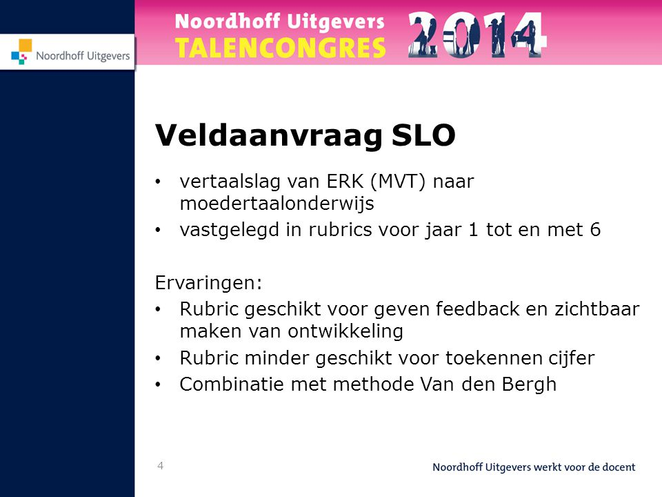Veldaanvraag SLO vertaalslag van ERK (MVT) naar moedertaalonderwijs