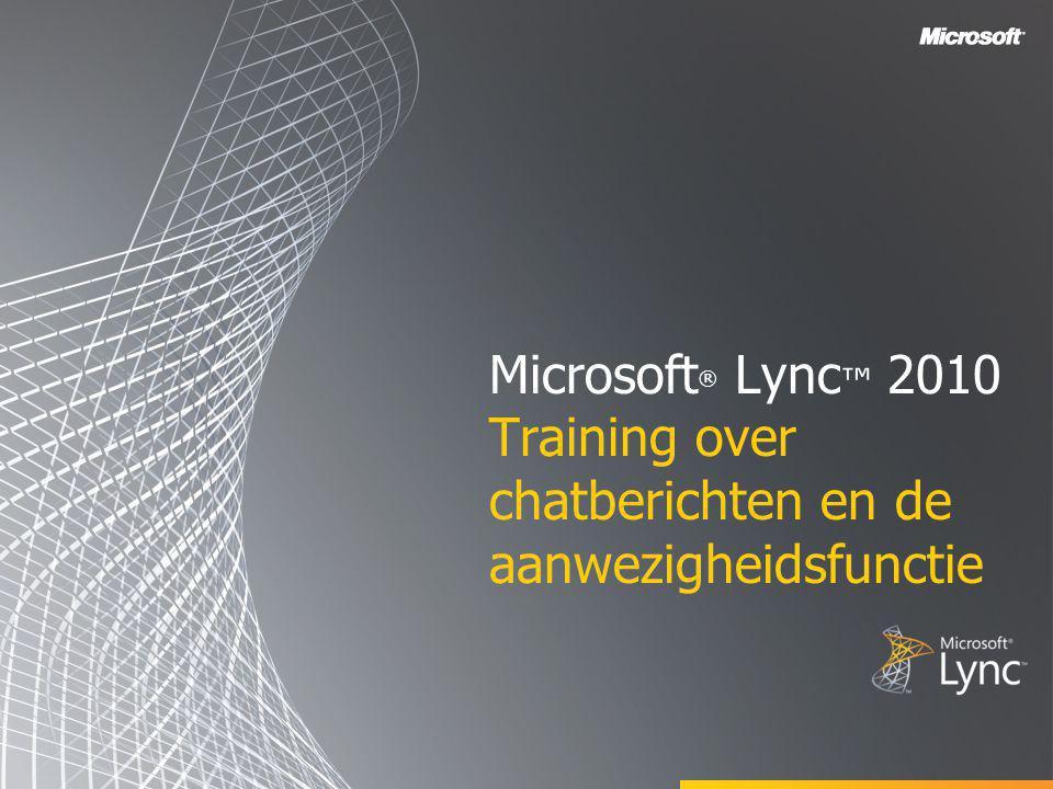 Microsoft® Lync™ 2010 Training over chatberichten en de aanwezigheidsfunctie
