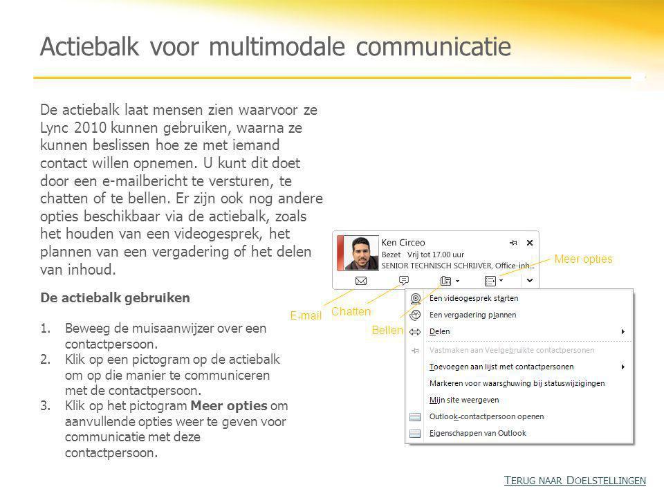 Actiebalk voor multimodale communicatie