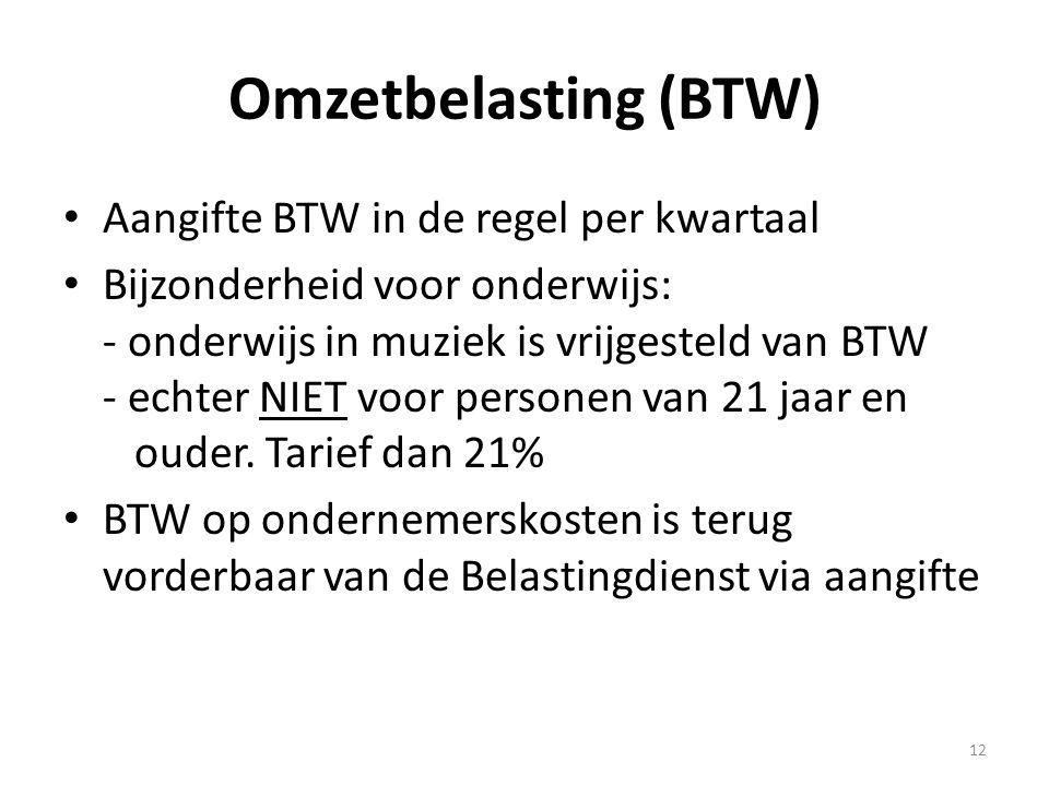 Omzetbelasting (BTW) Aangifte BTW in de regel per kwartaal