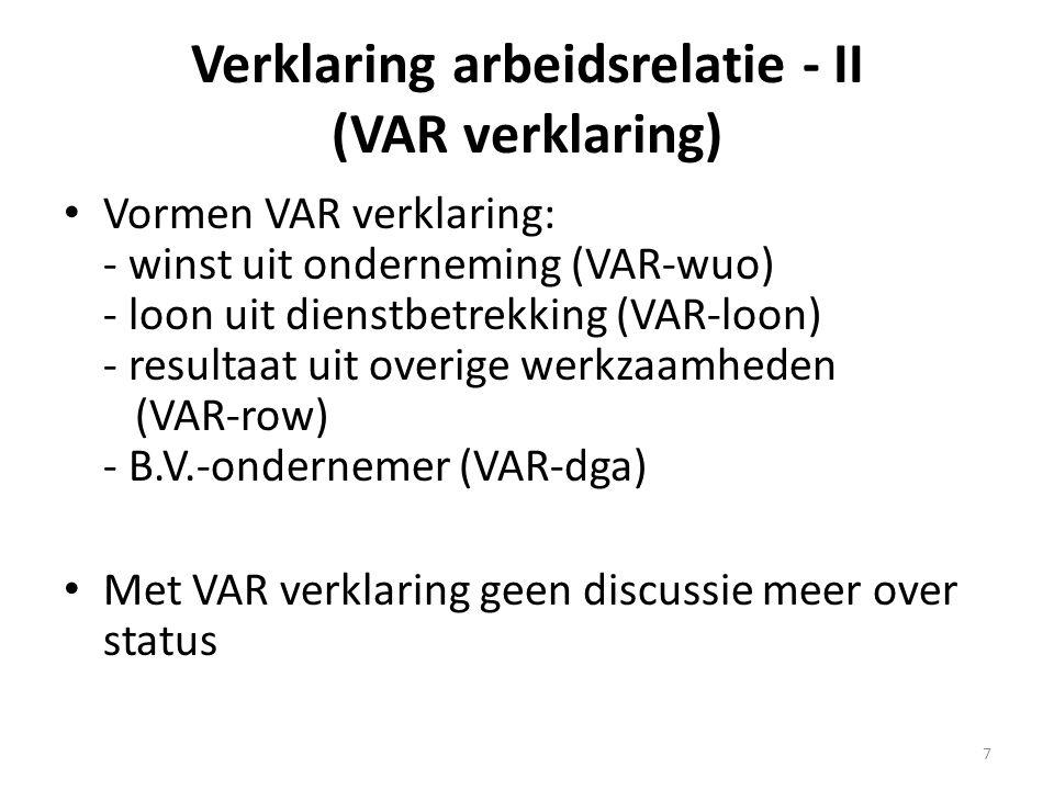 Verklaring arbeidsrelatie - II (VAR verklaring)