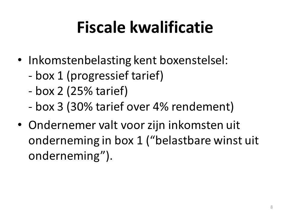 Fiscale kwalificatie Inkomstenbelasting kent boxenstelsel: - box 1 (progressief tarief) - box 2 (25% tarief) - box 3 (30% tarief over 4% rendement)