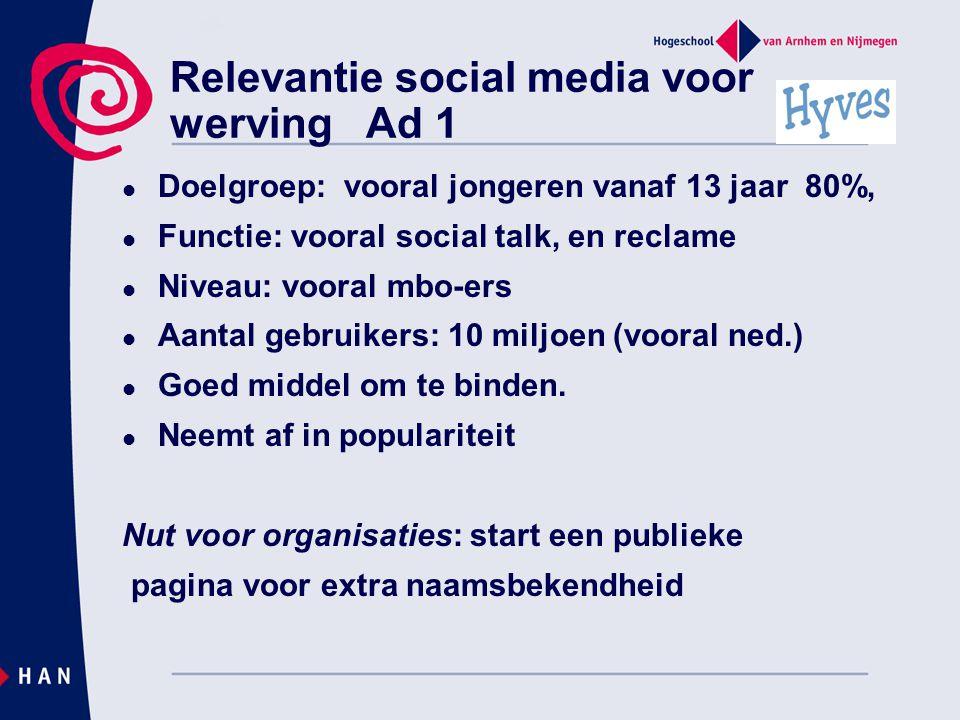 Relevantie social media voor werving Ad 1
