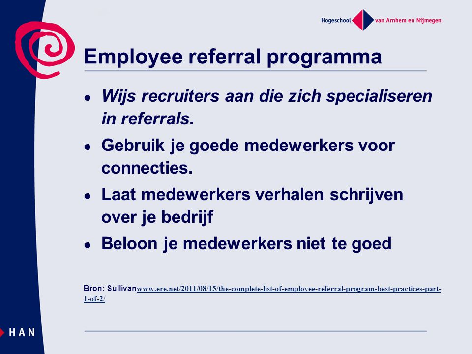 Employee referral programma